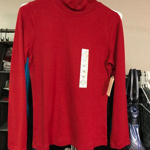 Long sleeved red turtleneck/mockneck